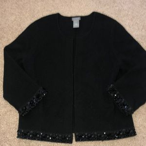 Ann Taylor Beaded Cardigan Sweater Wool Medium